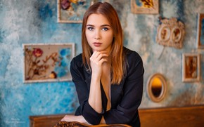 Picture girl, wall, long hair, brown hair, photo, photographer, blue eyes, model, bokeh, lips, face, picture, …