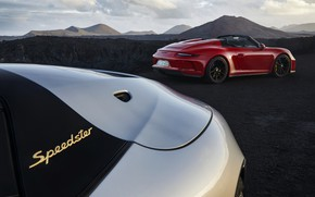Picture red, 911, Porsche, Speedster, 991, 2019, gray-silver, humps, 991.2