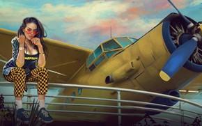 Picture Girl, Figure, The plane, Glasses, Brunette, Propeller, Art, Beauty, Sexy, Beautiful, by Kaloyan Stoyanov, Kaloyan …