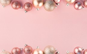 Picture decoration, balls, New Year, Christmas, Christmas, pink background, balls, pink, New Year, decoration, Merry