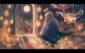 Picture clouds, night, the moon, carpet, fantasy, sleeping, girl, halo
