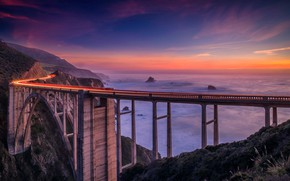 Picture road, landscape, sunset, mountains, bridge, fog, the ocean, coast, CA, USA, Bixby Bridge
