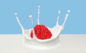 Picture berries, raspberry, splash, milk