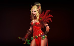 Picture Girl, Minimalism, Blonde, Elf, WoW, WOW, Blizzard, Elf, Fiction, World of WarCraft, WarCraft, Elf, Valeera …