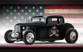 Picture car, Ford, sake, star, smoke, usa, american, flag, fast, Ford coupe