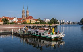 Picture river, building, Poland, court, Wroclaw