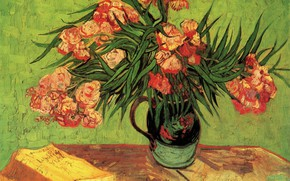 Picture roses, book, vase, table, Vincent van Gogh, with Oleanders and Books, Still Life Vase