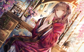 Picture girl, art, Chinese Dress