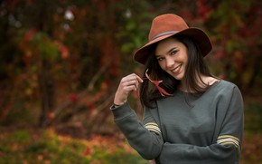 Picture smile, Girl, hat