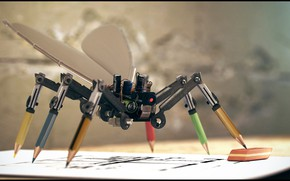 Picture mechanism, pencils, drawing, gum, Fly