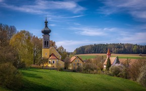 Picture landscape, nature, home, spring, Germany, Bayern, forest, Church