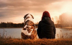 Picture girl, sunset, dog, moody, best friend