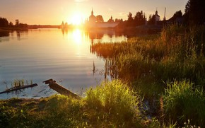 Picture Sunset, The sun, Nature, River, Beauty