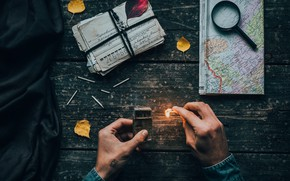 Picture wallpaper, flame, mood, map, situations, hands, letters, cards, matches, 4k uhd background