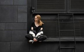 Picture girl, wall, sitting, black background, Elizaveta Smekh