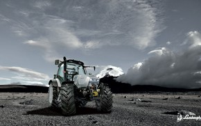 Picture white, the sky, clouds, tractor, cabin, wheel, Lamborghimi, agricultural machinery, white tractor