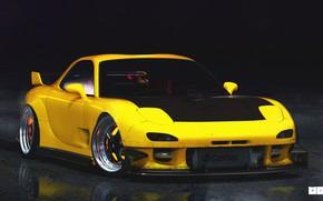 Picture Auto, Yellow, Machine, Mazda, Mazda, Art, Art, RX-7, Rendering, The front, Mazda RX-7, Mazda RX …