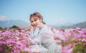Picture look, flowers, smile, sweetheart, dress, meadow, Asian