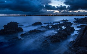 Picture sea, the sky, clouds, night, blue, clouds, the city, stones, shore, color, dal, the evening, …