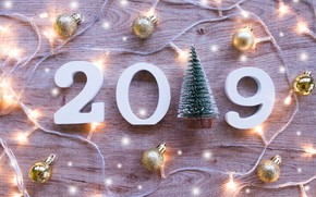 Picture tree, balls, Board, New Year, figures, new year, garland, balls, wood, winter, background, decoration, 2019