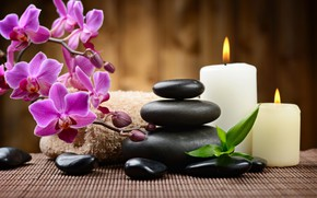 Picture flowers, stones, fire, candles, Orchid, Spa, bokeh