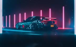 Picture Mazda, Car, Purple, Neon, RX-7