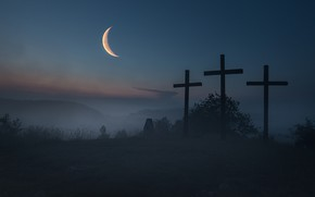 Picture the sky, landscape, night, fog, darkness, the moon, the darkness, crosses, graves, a month, the …