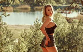 Picture the sun, trees, pose, river, model, shorts, portrait, makeup, Mike, figure, hairstyle, blonde, is, nature, …