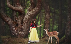 Picture forest, trees, nature, animal, dress, girl, outfit, child, fawn, Valeria Kasperova
