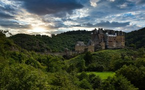 Picture forest, clouds, trees, castle, hill