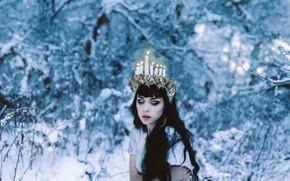 Picture winter, girl, snow, style, portrait, fantasy, image, Princess, photoart, Kindra Nikole