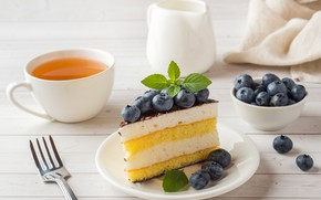Picture berries, cake, cream, biscuit, a piece of cake, souffle