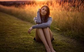 Wallpaper grass, the sun, nature, pose, model, skirt, portrait, barefoot, makeup, figure, hairstyle, brown hair, legs, ...
