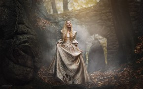 Picture autumn, forest, girl, pose, fog, fright, dress, Barbora, Marketa Novak