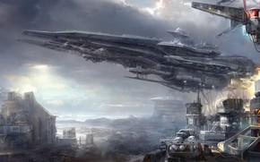 Picture science fiction, art, spaceship, Digital 2D