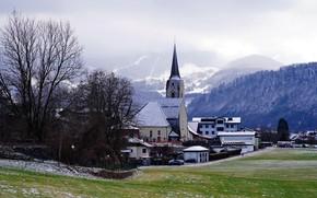 Picture mountains, fog, Austria, Church