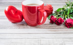 Picture love, flowers, roses, bouquet, hearts, red, red, love, flowers, romantic, hearts, coffee cup, valentine's day, …