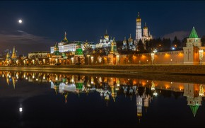 Picture night, reflection, river, Moscow, tower, Russia, promenade, temples, The Moscow river, The Kremlin wall, Cathedral …