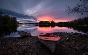 Picture forest, sunset, river, boats, Sweden