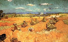 Picture Vincent van Gogh, Wheat Stacks, with Reaper, the man in the hat