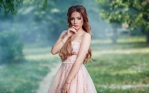 Picture look, girl, pose, portrait, hands, makeup, dress, bokeh
