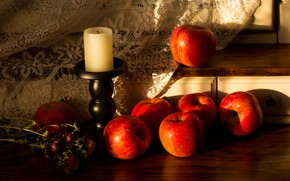 Picture light, apples, candle, red, fabric, still life, items, candle holder