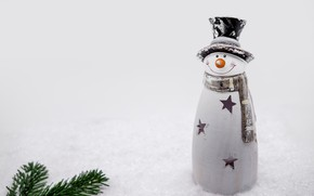 Picture winter, stars, snow, smile, toy, hat, scarf, Christmas, New year, snowman, needles, figure