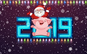 Picture Winter, Pig, Snow, Christmas, Snowflakes, Background, New year, Holiday, Santa Claus, Art, Santa Claus, Happy …