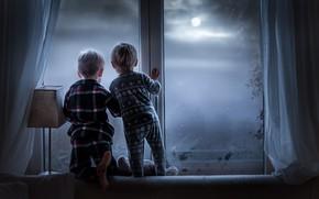 Picture children, house, window