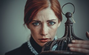 Picture look, girl, face, background, cell, freckles, red, redhead, freckled
