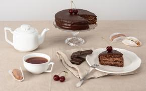 Picture tea, chocolate, candy, cake, dessert, sweet, Chocolate, Cake, Sweet