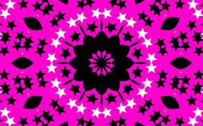 Picture stars, pink, pattern, round, kaleidoscope