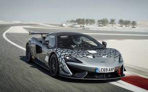 Picture coupe, McLaren, 2020, V8 twin-turbo, 620R, black and grey, 620 HP, 3.8 L.