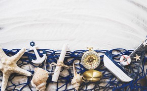 Picture sand, network, boat, shell, compass, sea